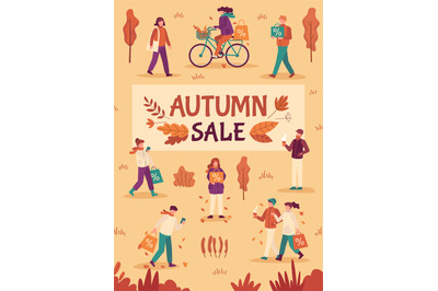 Autumn sale. People with umbrellas and shopping bags in city, fall sea