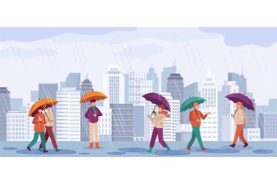 People autumn rain. Men and women walk or standing in rain with umbrel