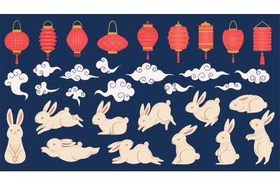 Mid autumn rabbits. Chinese and vietnamese traditional festival elemen