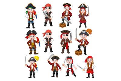 Cute Pirates Clipart Vector Set