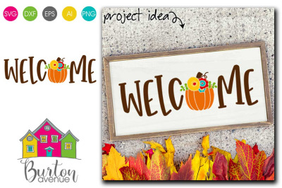 Welcome with Fall Pumpkin Fall SVG File | Fall SVG File