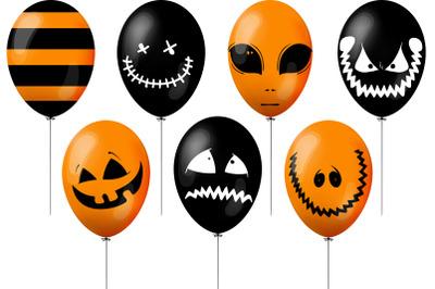 orange and black balloonsset of orange and black balloons for hallowee