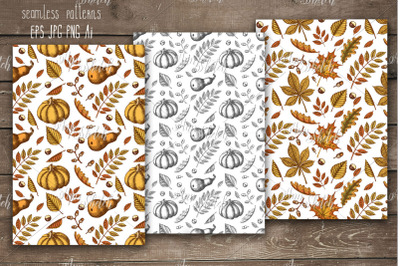 3 Autumn seamless pattern