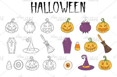 Halloween Hand drawn icons set.