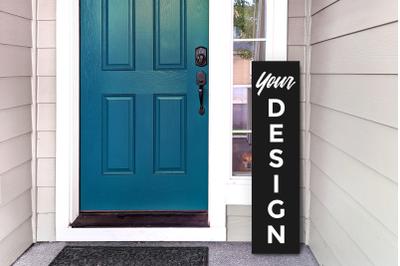Vertical Porch Sign on Editable Plain Color Board | Mock Up