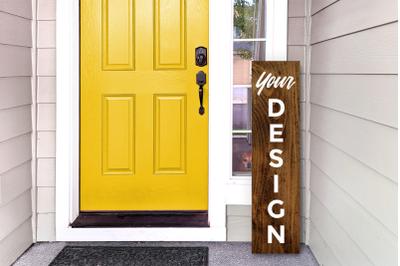 Vertical Wooden Porch Sign | Mock Up