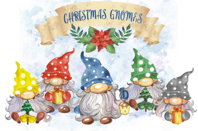 Christmas gnomes clipart. Watercolor Scandinavian gnomes, winter