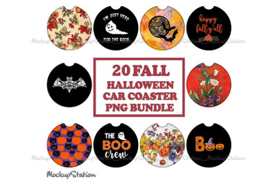 20 Fall Halloween Car Coaster Sublimation PNG Bundle