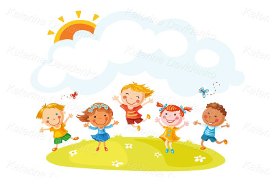 Happy cartoon kids jumping with joy on a hill with a copy space.