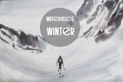 watercolor nature and landscape winter and mountain