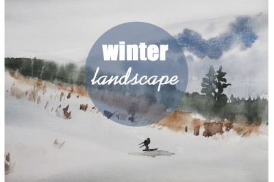 watercolor nature and landscape of winter with skie and trees