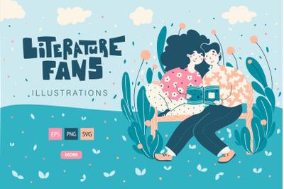 Literature Fans - cute illustration