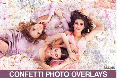 Confetti overlay & Blowing glitter overlays, Photoshop overlay
