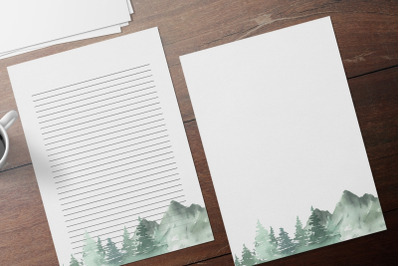 Watercolor Forest Printable Stationery