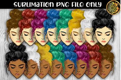 Multicolor Messy Bun Momlife Sublimation PNG