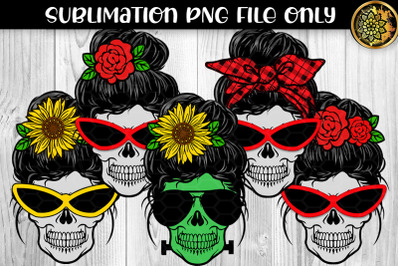 Messy Bun and Sunglasses Skull Mom Sublimation PNG