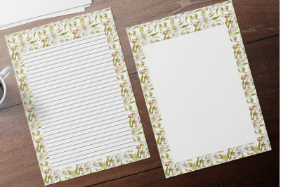 White Lilies Lined & Unlined Stationery Set