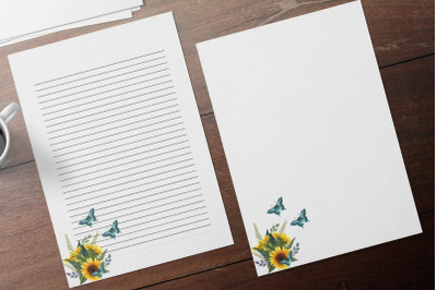 Sunflowers and Butterflies Stationery Papers