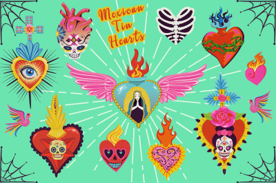 Mexican Tin Hearts Graphics