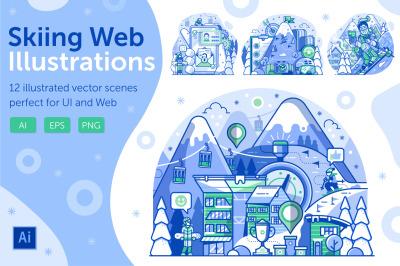 Skiing Resort Web Illustrations