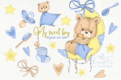 Nursery boy clipart bundle. Baby room decor digital graphic pack. Birt