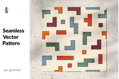 Tetris cubes seamless pattern