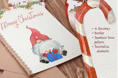 Gnomes in Winter Watercolor Clip Art