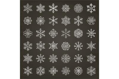 White Winter Snowflakes Doodles. Hand-Drawn Xmas Vector Illustration.