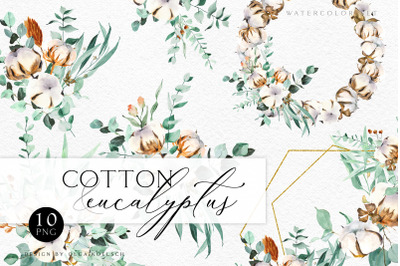 Hand drawn cotton clip art Eucalyptus wreath watercolor clipart Design