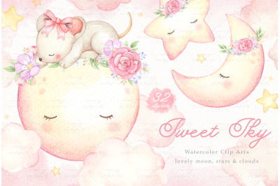 Sweet Sky Watercolor Clip Arts
