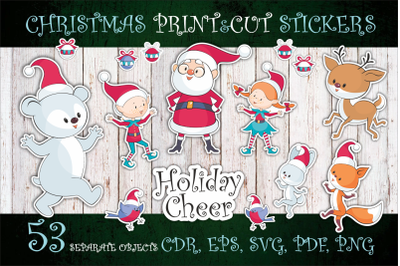 Holiday Cheer. Christmas print and cut stickers set.