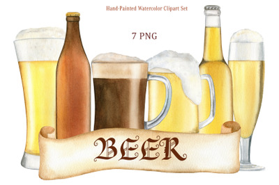 Watercolor beer clipart. Hand drawn cold beer glass, mug and bottle.