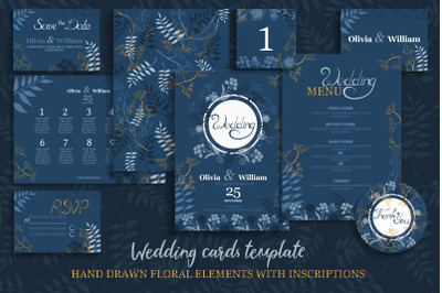 Blue&Gold Wedding Invitation Cards Templates