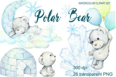 Polar Bear, watercolor polar bears,  baby bear, personalised print cre