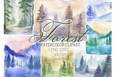 Watercolor forest clipart landscape clip art background nature png