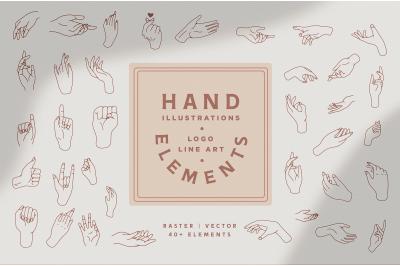 Hand Vector Lineart Logo Elements