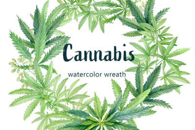 Cannabis leaves watercolor wreath, round floral frame clipart.