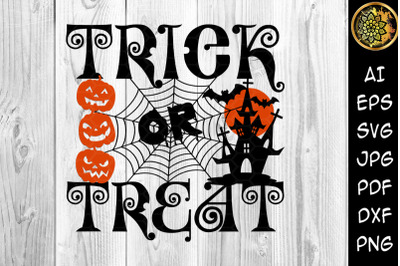Trick or Treat Happy Halloween SVG 12x12 inches