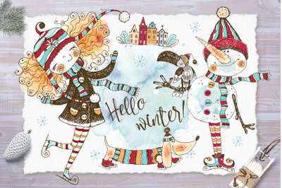 Hello winter. Watercolors and graphics.