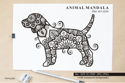 Dog Mandala Vector Line Art Style