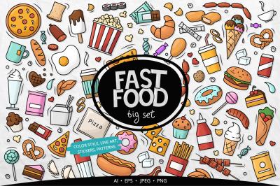 Fast Food Elements Vector Big Set, Stickers, Patterns