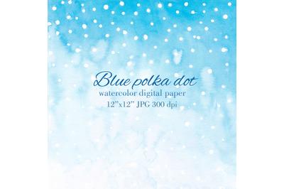 Blue polka dot Digital paper Watercolor gradient background