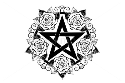 Black Pentagram with Roses