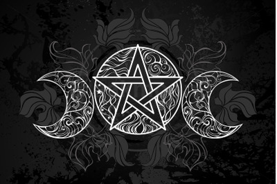 White Pentagram with Leaves