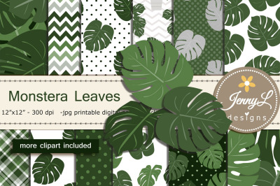 Monstera Plant Digital Paper and Clipart
