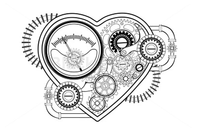 Contour Mechanical Heart Steampunk