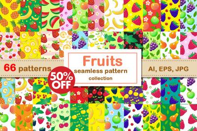 Fruit seamless patterns BIG SET