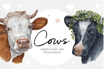 Watercolor set cute cow and ox illustrations. 8 cows