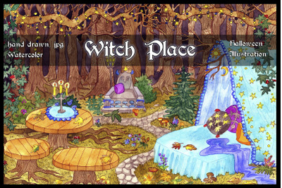 Witch Place, Halloween illustration
