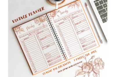 Beautiful vintage planner. Daily Planner Day Work Planner Weekly Plann